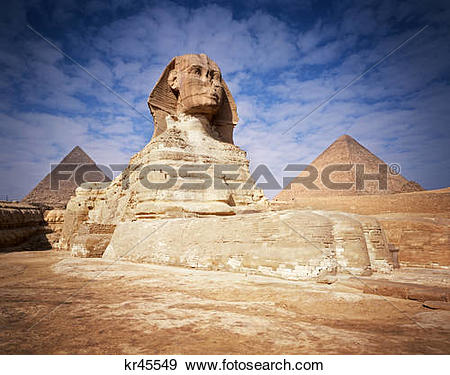 Stock Photograph of The Great Sphinx Chefren & Cheops Pyramids.