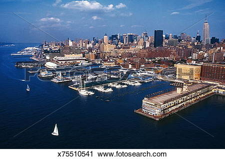 Stock Photography of NEW YORK HARBOR, CHELSEA PIERS, FROM AIR.
