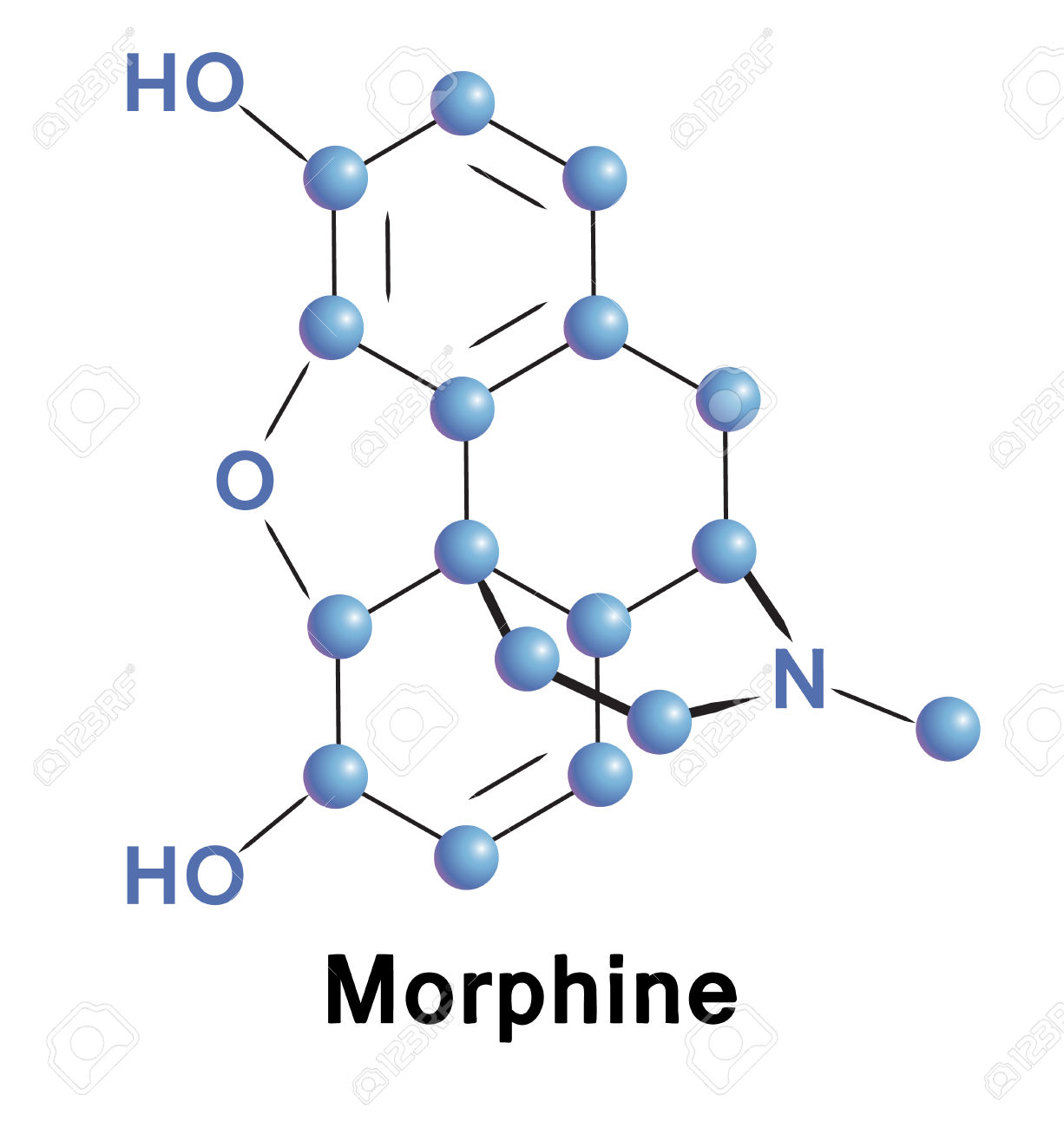 Morphine Chemical Compound Molecular Structure. Vector.