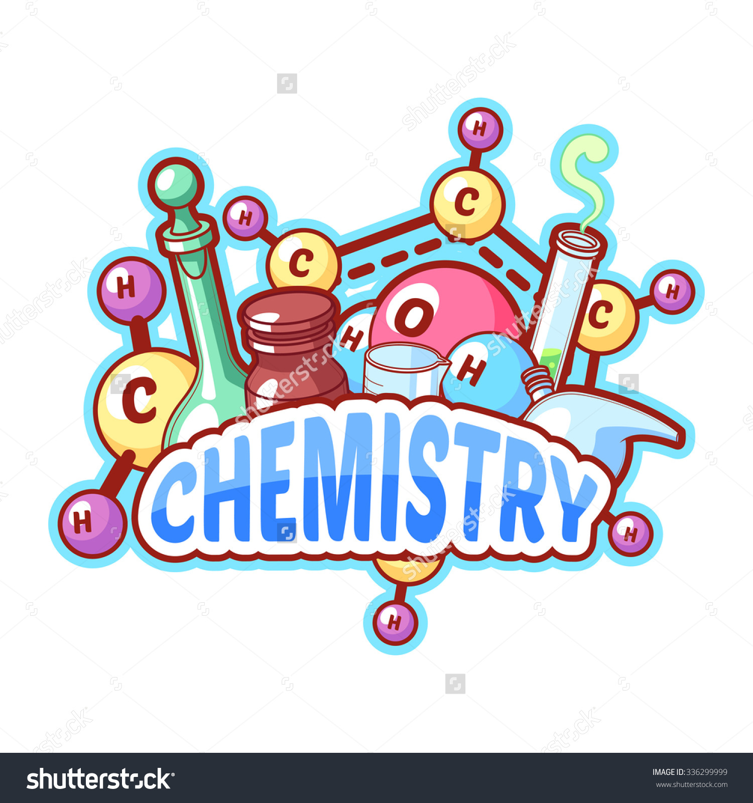 Chemistry Title Chemical Elements Flasks On Stock Vector 336299999.