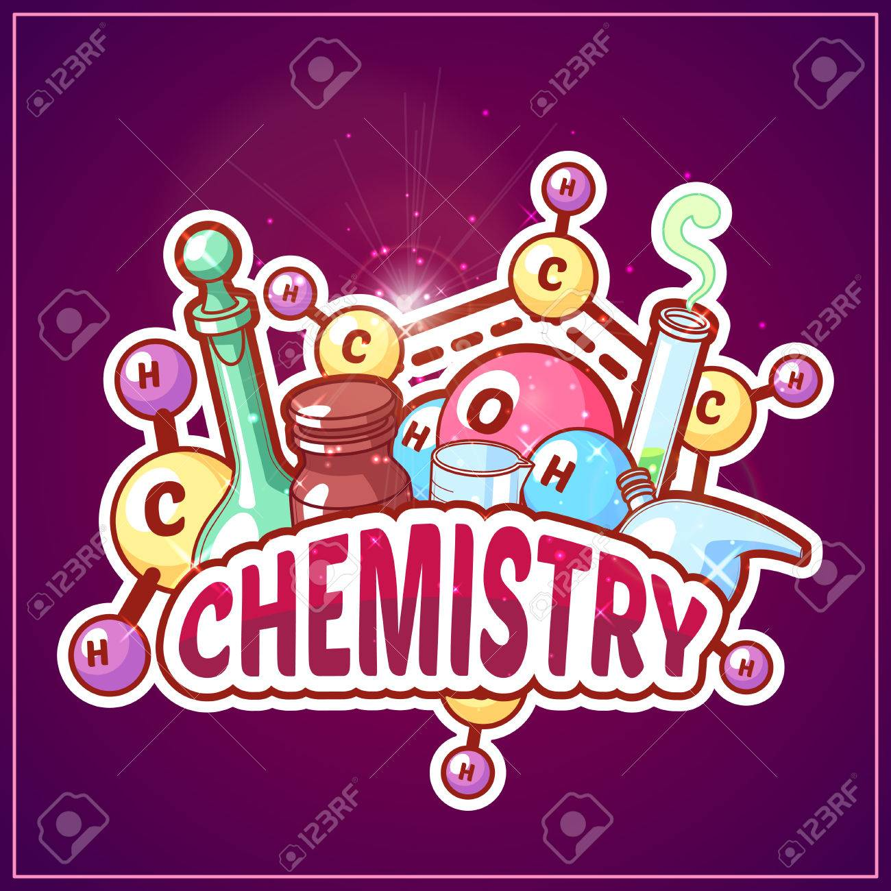 Chemistry title with chemical elements and flasks on a dark background...