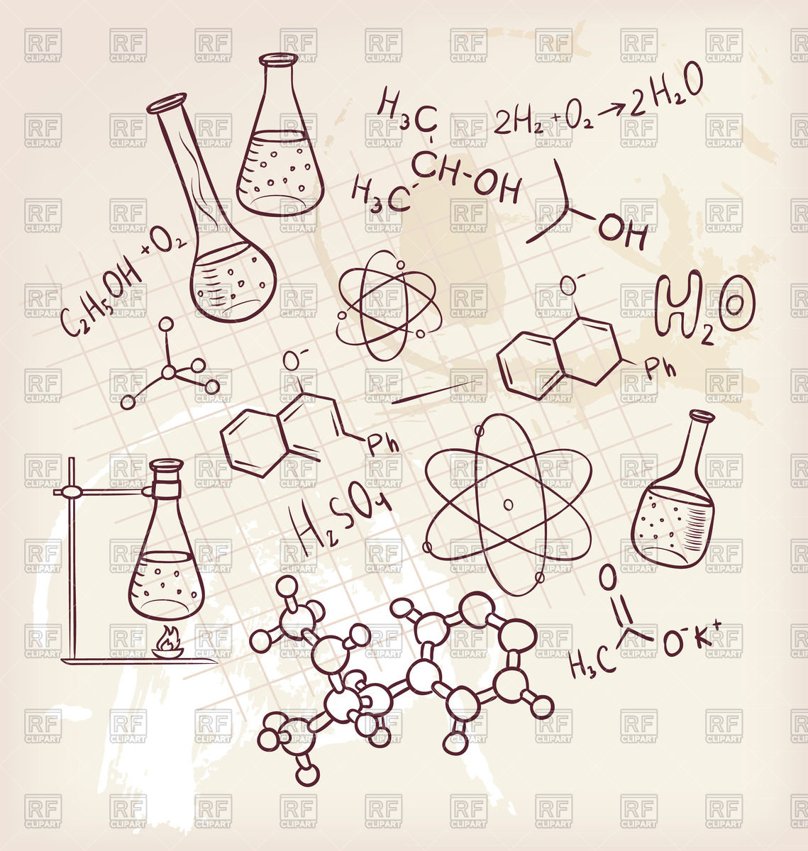 Sketch of chemistry elements Stock Vector Image.