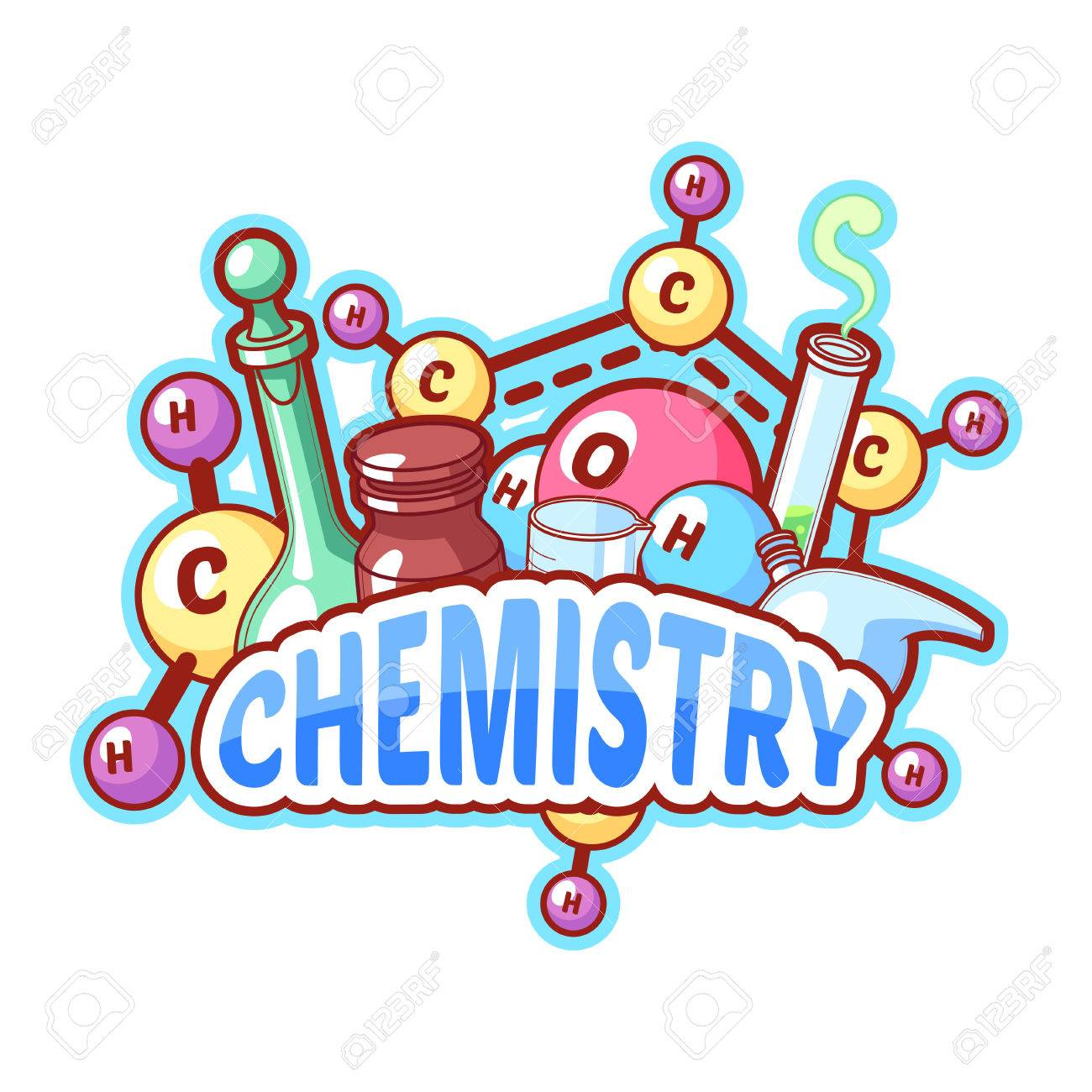 Chemistry title with chemical elements and flasks on a white...