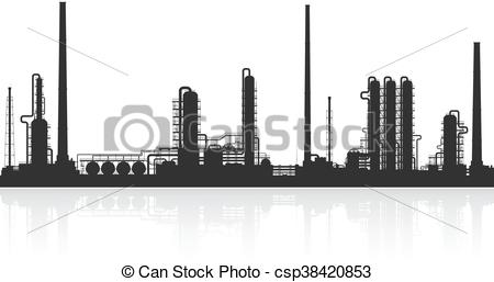 Oil refinery or chemical plant silhouette..