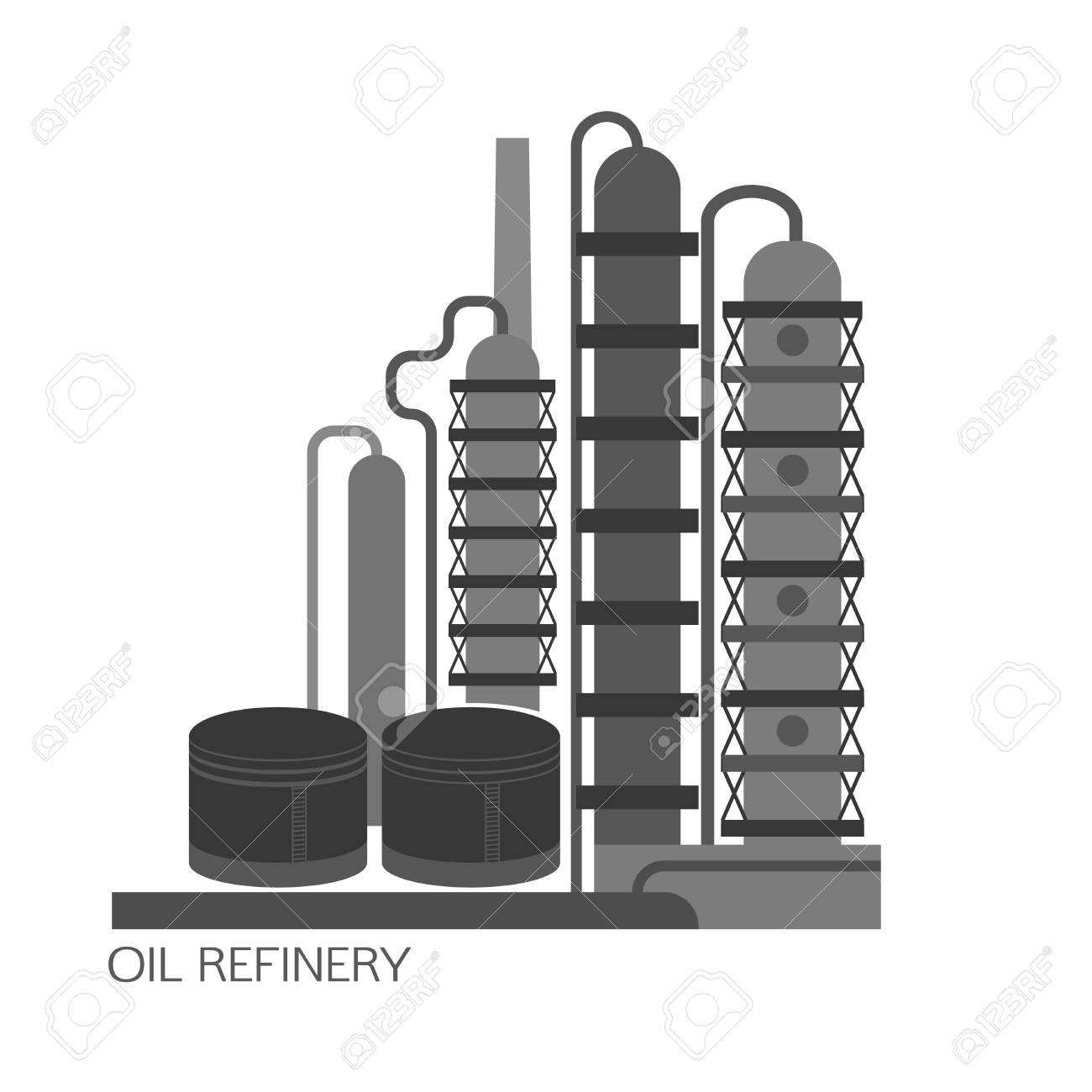 Oil refinery or chemical plant image. Vector illustration im...