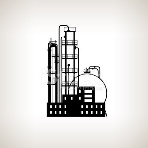 Silhouette of A Chemical Plant OR Refinery Processing , Vector I.