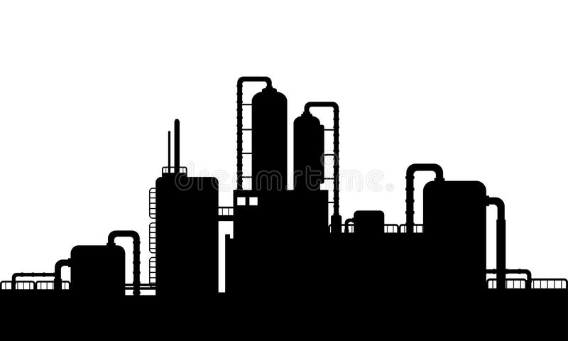 Silhouette Of A Chemical Plant Stock Vector.