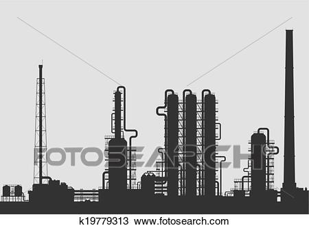 Oil refinery or chemical plant silhouette. Clipart.