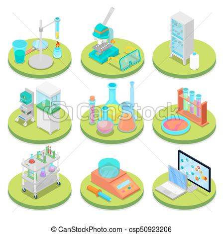 Chemistry Science Lab Isometric. Pharmaceutics, Research Experiment,  Chemical Technology. Vector flat 3d illustration.