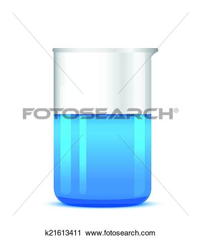 Clipart of Illustration of chemical beaker with solution on white.