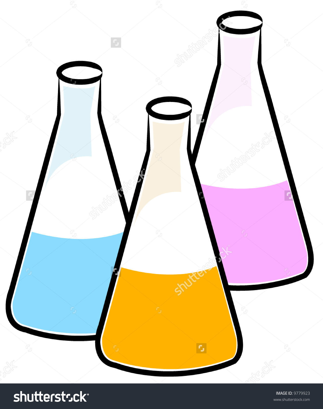Three Flasks With Different Chemical Solutions.