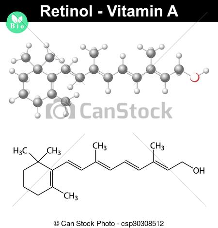 Vector Clip Art of Retinol structural chemical formula.
