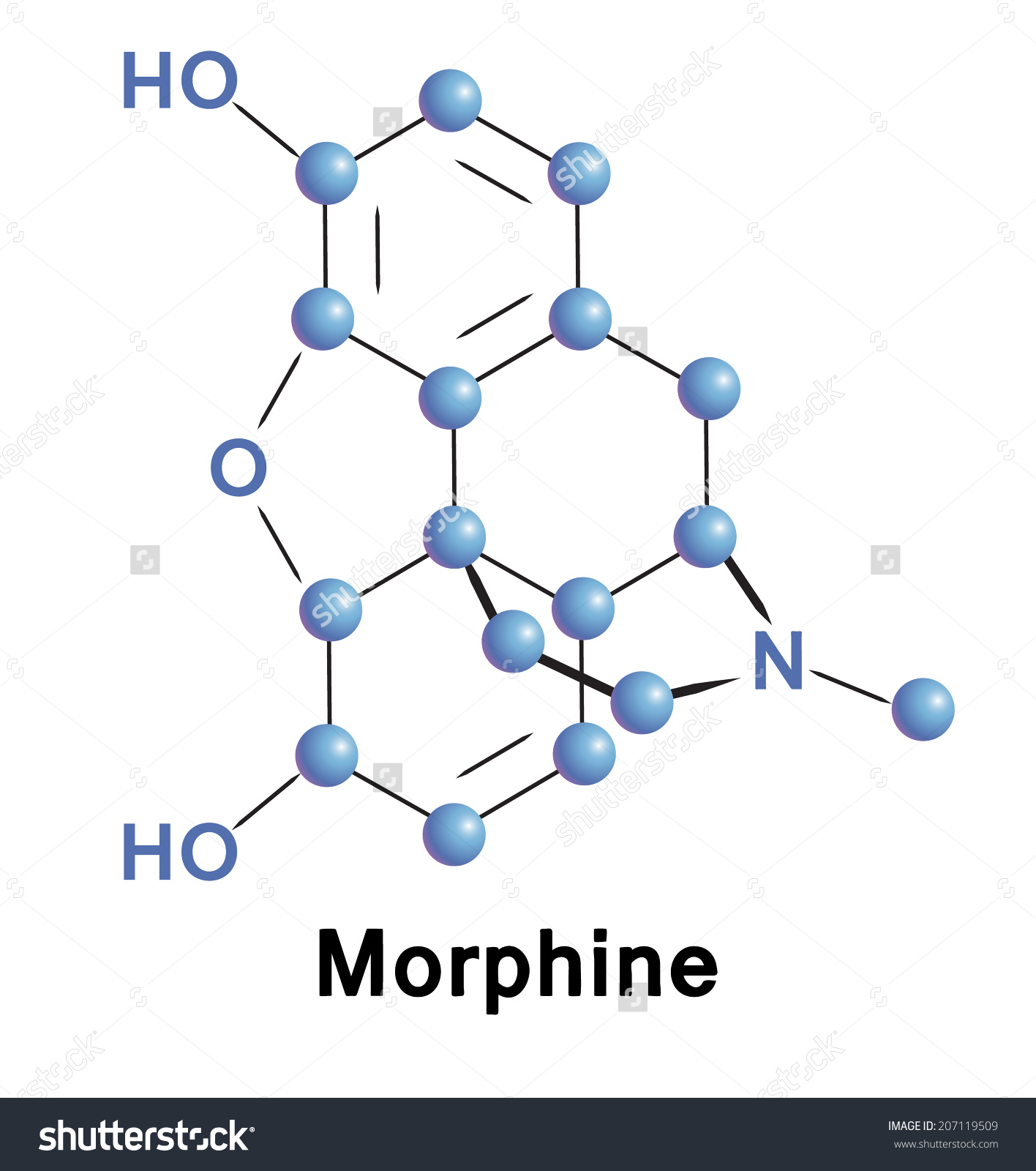 Morphine Chemical Compound Molecular Structure Vector Stock Vector.