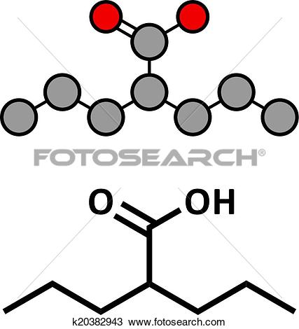 Clipart of Valproic acid or valproate epilepsy (seizures) drug.