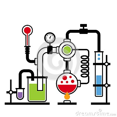 Chemistry Laboratory Infographic Stock Vector.