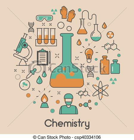 Chemistry Line Art Thin Vector Icons Set with DNA and Chemical Elements.
