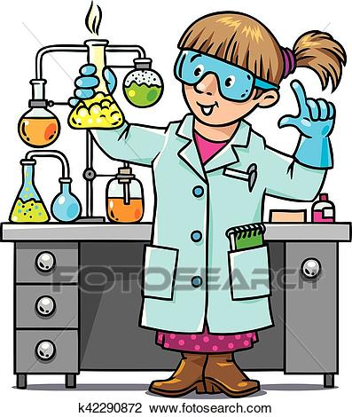 Funny chemist or scientist Clipart.