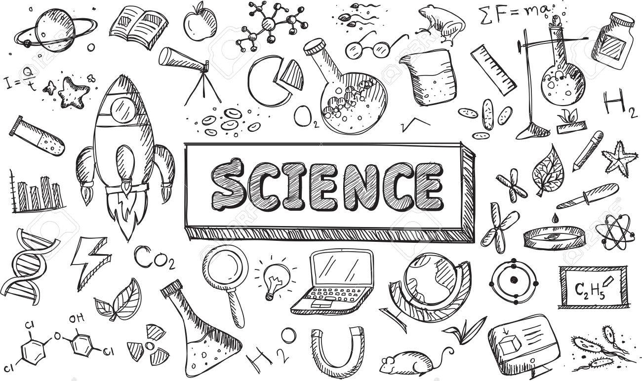 Black and white sketch science chemistry physics biology and...
