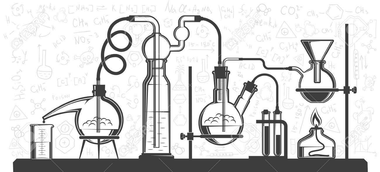 Chemical flasks and devices, scientific experiment in lab. Vector...
