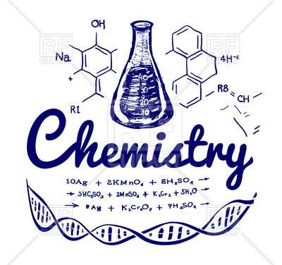 Hand drawn chemistry background Vector Image.