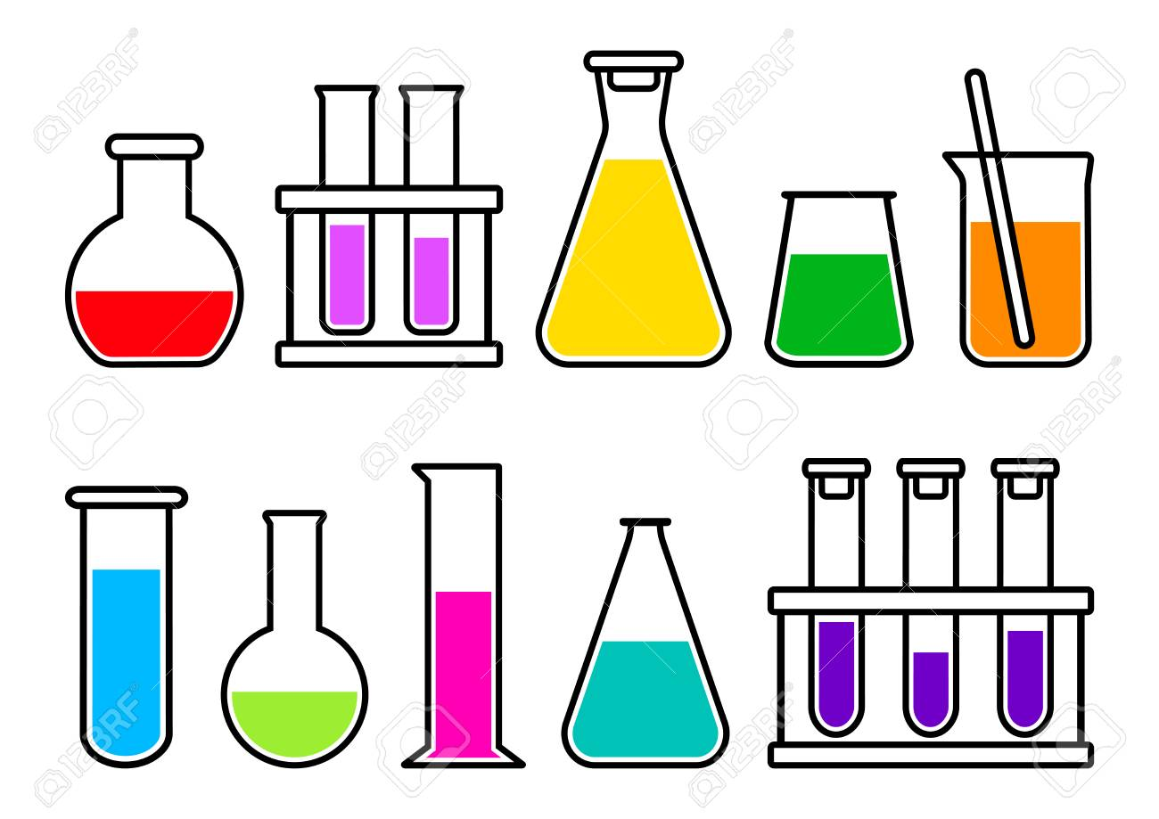 Chemical lab equipment with colorful liquid. Vector illustration.