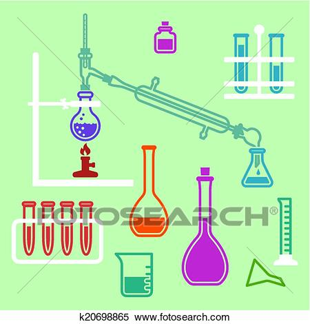 Chemistry lab equipment. Clipart.