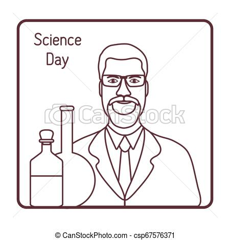 Scientist, lab equipment. Science day. Chemistry.