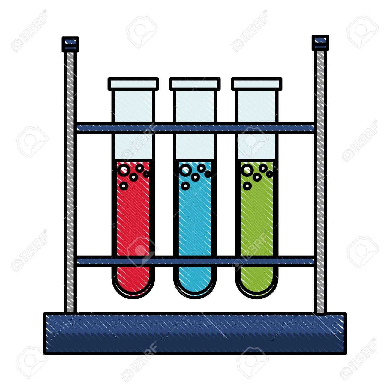 drawing test tube rack laboratory chemistry equipment vector...