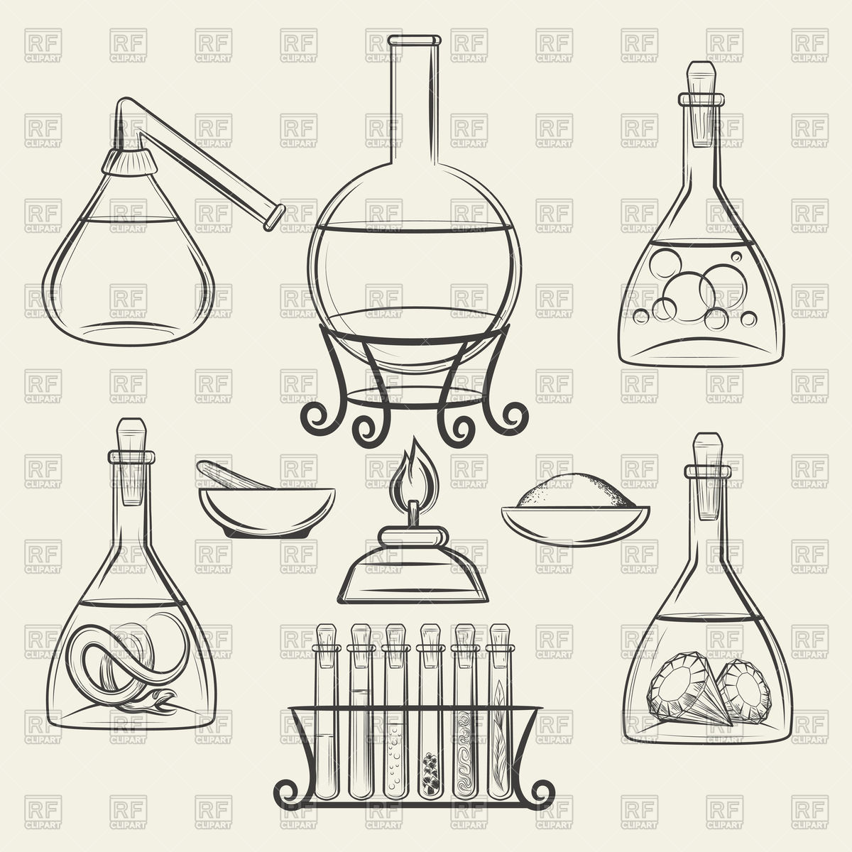 Hand drawn chemistry and biology vintage science lab equipment. Stock  Vector Image.