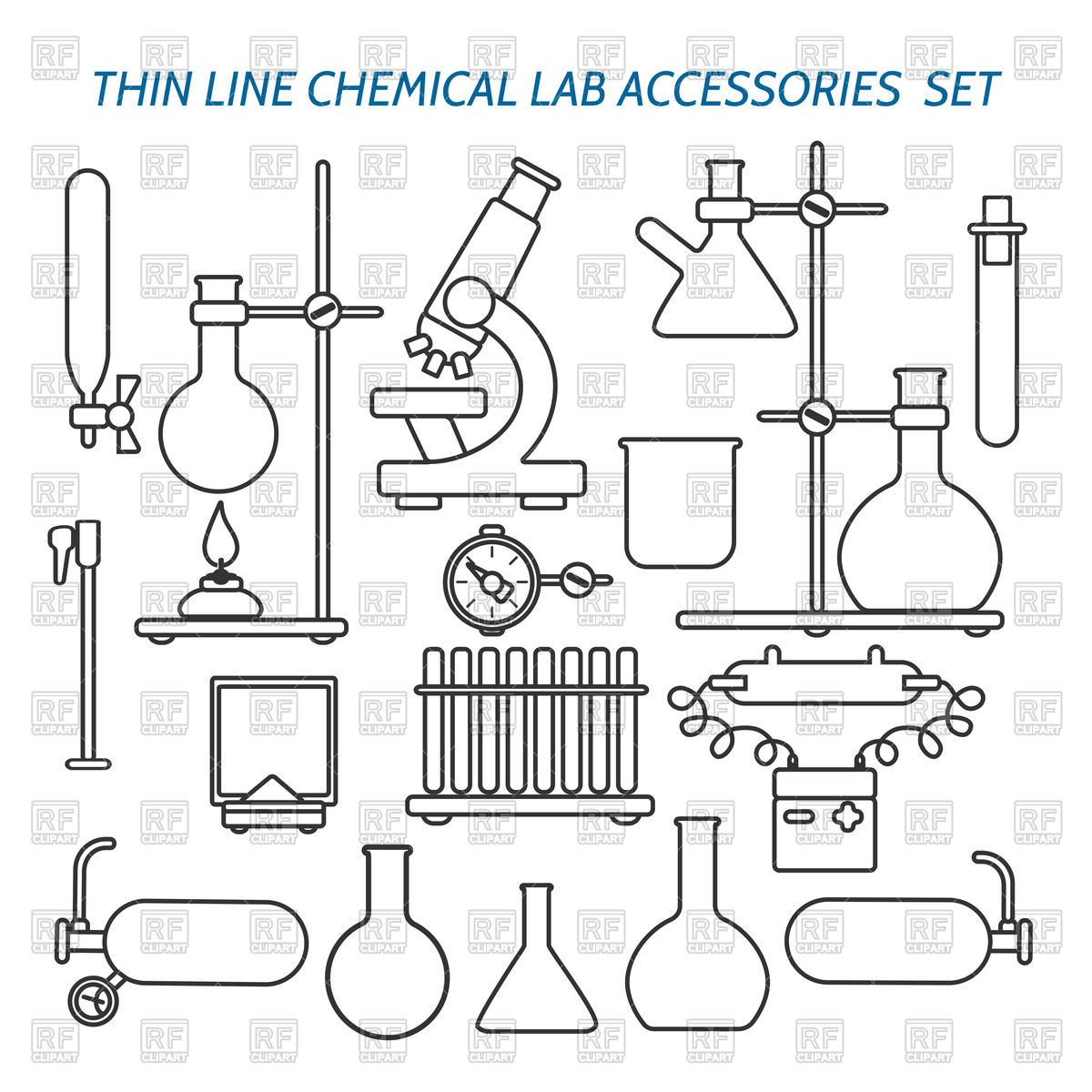 Thin line chemical lab equipment and accessories icon set Stock Vector Image.