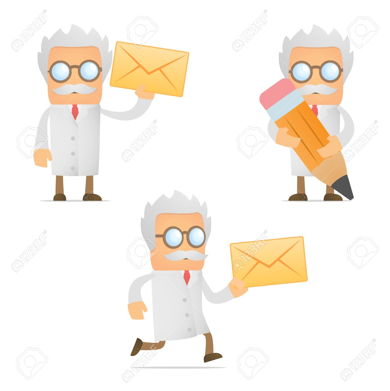 Funny Cartoon Scientist With A Letter Royalty Free Cliparts.