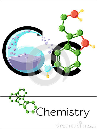 Flash Card Letter C Is For Chemistry. Stock Vector.