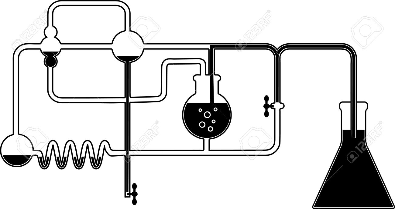 Black and white graphic design element with chemistry set.