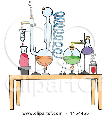 Cartoon of a Chemistry Set in a Science Lab.