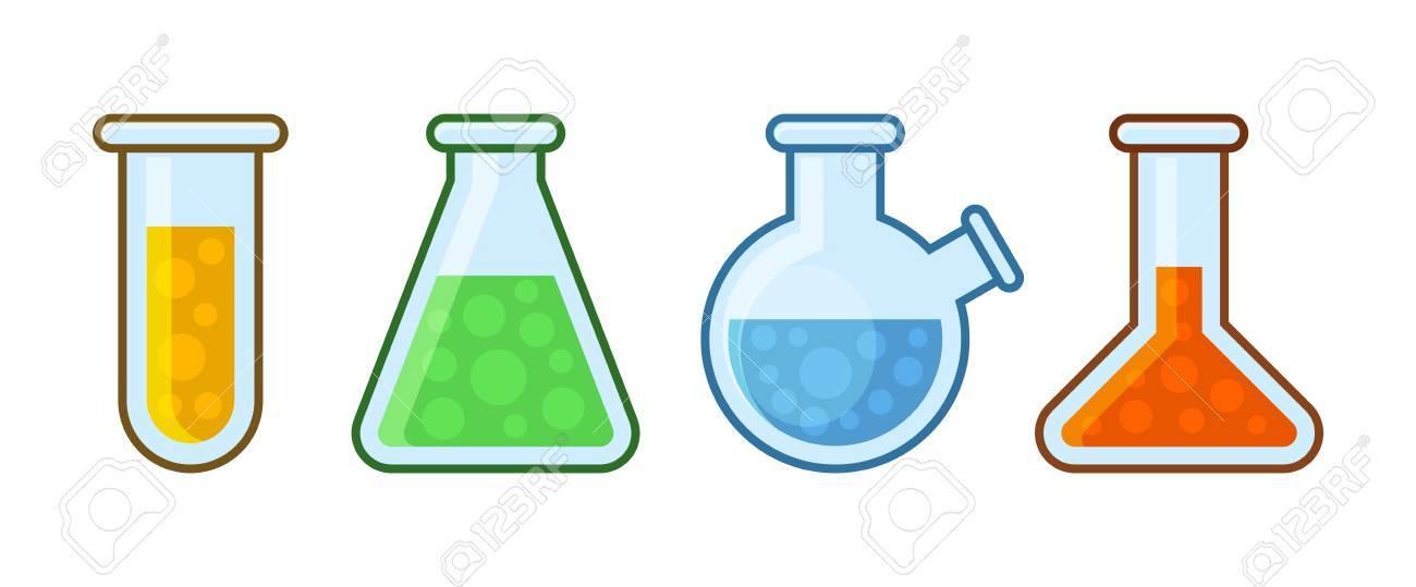 Chemical Laboratory Equipment Icons Set on White Background.
