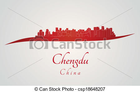 Vector Clipart of Chengdu skyline in red and gray background in.