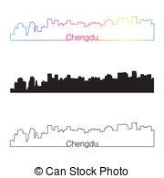 Chengdu skyline Vector Clipart Illustrations. 6 Chengdu skyline.