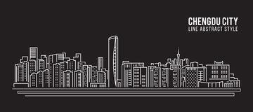 Modern Ancient Building Chengdu Stock Illustrations.