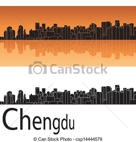 Vectors Illustration of Chengdu skyline in orange background in.