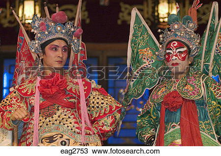 Stock Photo of Two male stars in full costume at Chinese Opera.