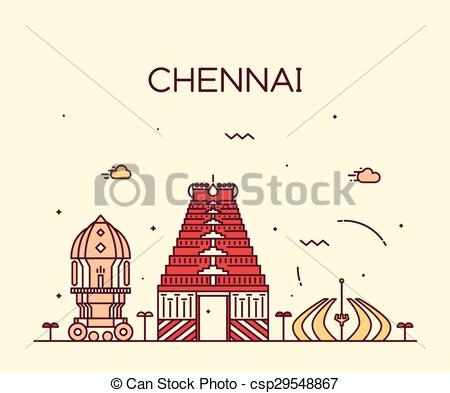 Clip Art Vector of Chennai skyline trendy vector illustration.