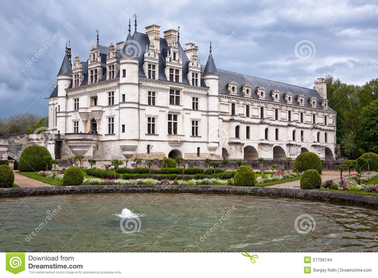 Chateau De Chenonceau, Loire Valley, France Stock Images.
