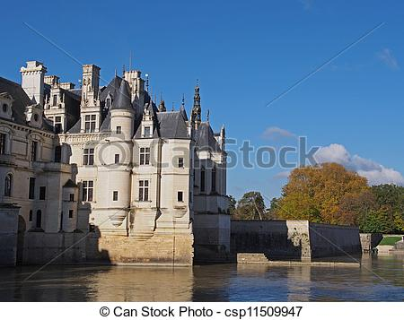 Stock Photo of Chenonceau castle in fall , Loire valley , France.