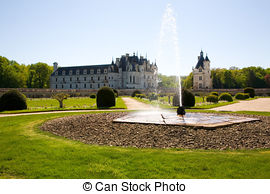 Stock Photo of Chateau de Chenonceau from the gardens in Loire.