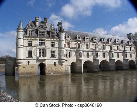 Stock Photography of Chenonceau and river.
