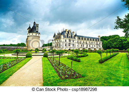 Stock Photographs of Chateau de Chenonceau royal medieval french.