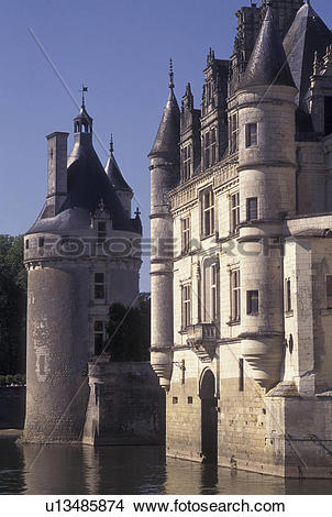 Stock Photo of castle, Loire Valley, France, Chenonceau, Loire.