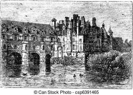 Clipart Vector of Chenonceau Castle vintage engraving.