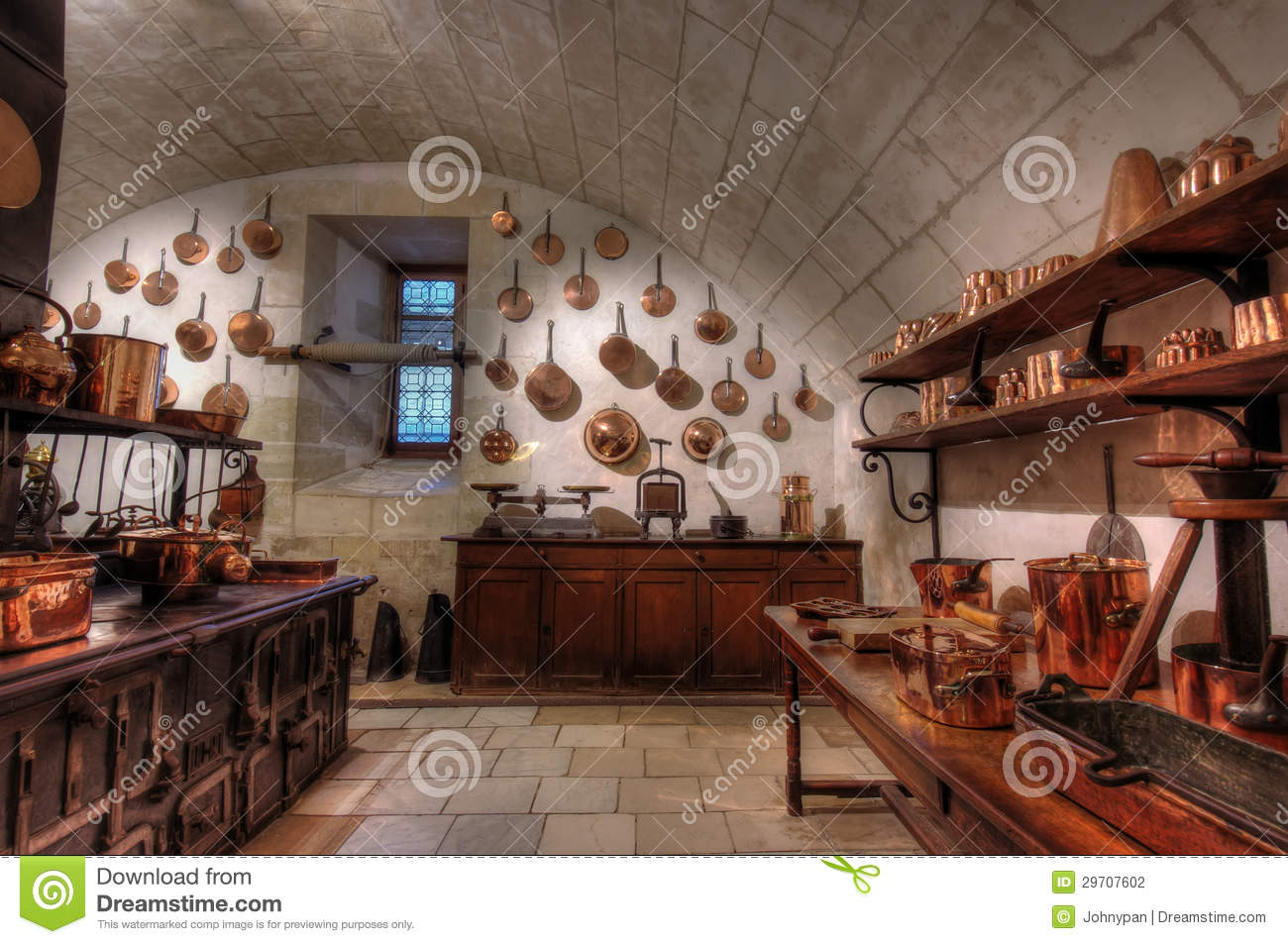 Chenonceaux Castle Interior, View Of Kitchen Editorial Image.