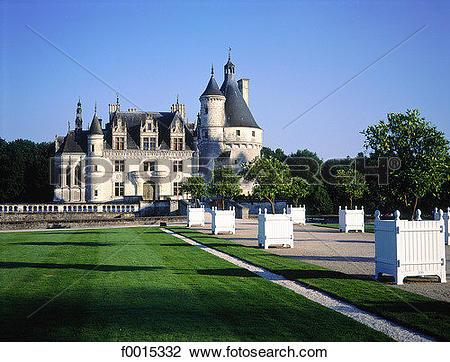 Stock Photo of France, Touraine, Chenonceaux, castle f0015332.